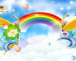 卡通儿童六一节彩虹飞船PPT背景图片