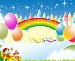卡通六一儿童彩虹城堡PPT背景图片