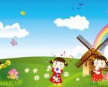 卡通儿童节唱歌演奏绿色草地PPT背景图片